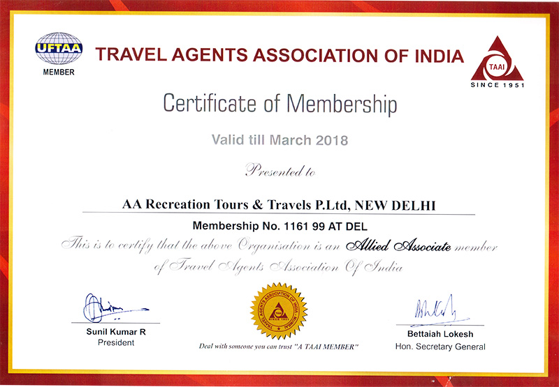 Active member of Association of Domestic Tour Operator of India (ADTOI)